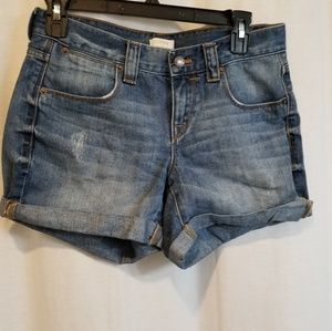 J crew denim distressed shorts